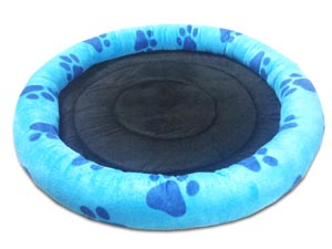 Dog Bed Round Shaped In Blue Color with Dark Blue Paws Design for Small and Medium Size Dogs