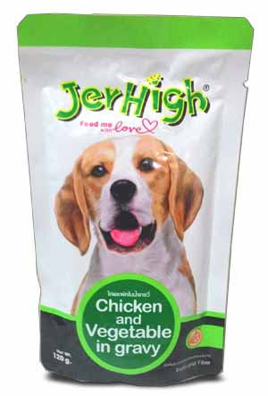 Jerhigh Chicken and Vegetable in Gravy for Dogs 120 gm pack of 2