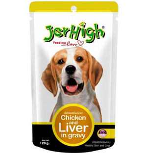 Jerhigh Chicken and Liver in Gravy for Dogs 120 gm pack of 2