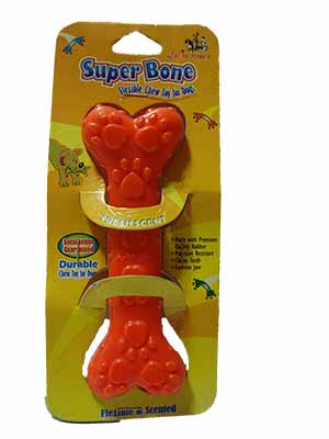 Dog Toy Flavoured Rubber Chew Bone with Paws Studs Medium