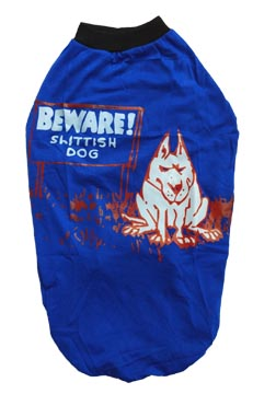 Dog T Shirt Blue Beware for Medium Dogs S24