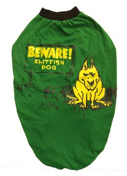 Dog T Shirt Green Beware for Medium Dogs S24