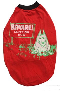 Dog T Shirt Red Beware for Medium Dogs S24