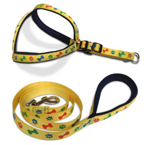 Kanopi Imported Padded Harness and Leash Set 20mm Printed Yellow For Medium Dogs