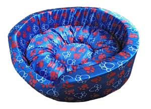 Dog Round Bed Royal Medium In Blue With Paws