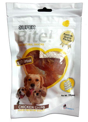 Super Bite Fine Natural Snack Chicken Chips for Dogs 70 gm