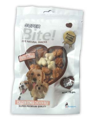 Super Bite Fine Natural Snack Calcium Bone and Chicken Rice for Dogs 70 gm