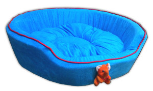 Dog Round Bed Blue With Puppy Face for Small and Medium Size Dogs